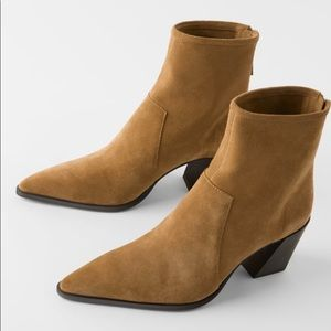 Zara | Soft Split Leather Heeled Ankle Boots | NWT